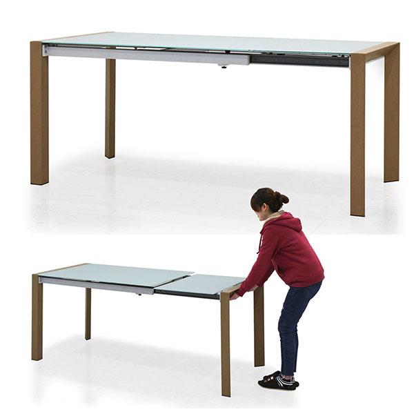 ガラステーブル 伸長式 ダイニングテーブル 幅128~178cm エクステンション