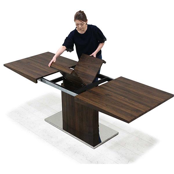 幅160cmから幅200cmへ伸長可能なダイニングテーブル