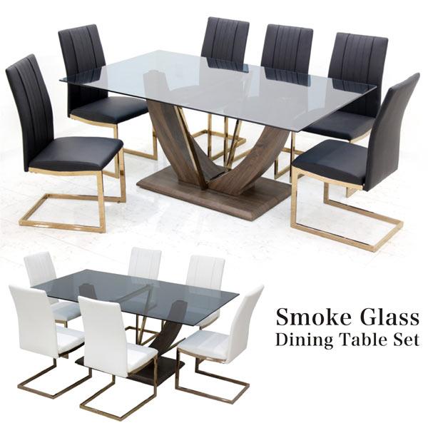 ガラス ダイニングセット 6人掛け 7点 幅170cm ブラック ホワイト 選べる2色 スモークガラス ダイニングテーブルセット ガラステーブル 座面 合皮 6人用 170×100 カンチレバーチェア 黒 白 デザイナーズ風 おしゃれ モダン デザイン 長方形
