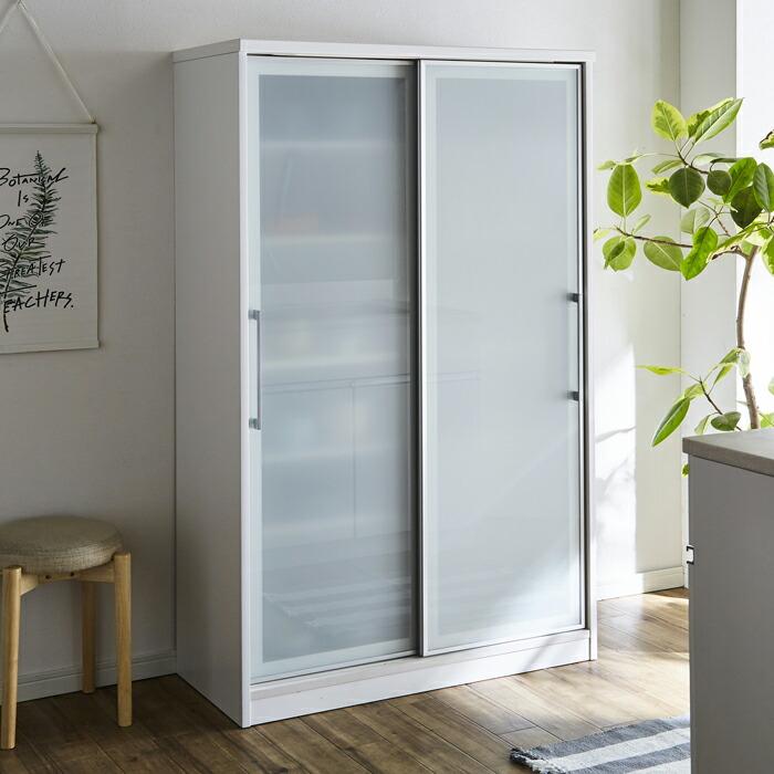 食器棚 キッチンボード ダイニングボード 幅100cm 国産 引戸 ハイタイプ ホワイト 白 高さ調節 可動棚 キッチン収納 北欧 シンプル モダン 木製 完成品