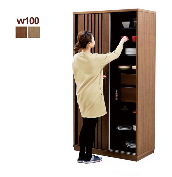 引戸 食器棚 和風 ダイニングボード 幅100cm 100 ナチュラル ブラウン