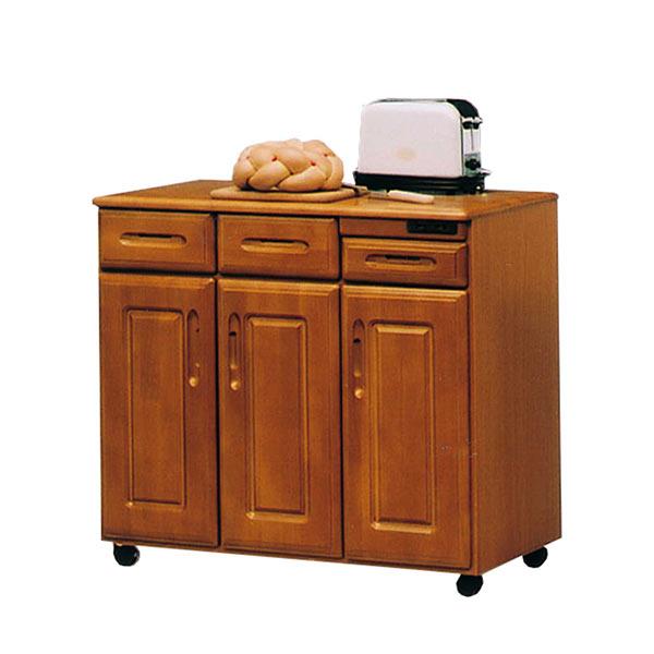 キャスター付き 国産 キッチンカウンター 間仕切り 収納 幅90cm