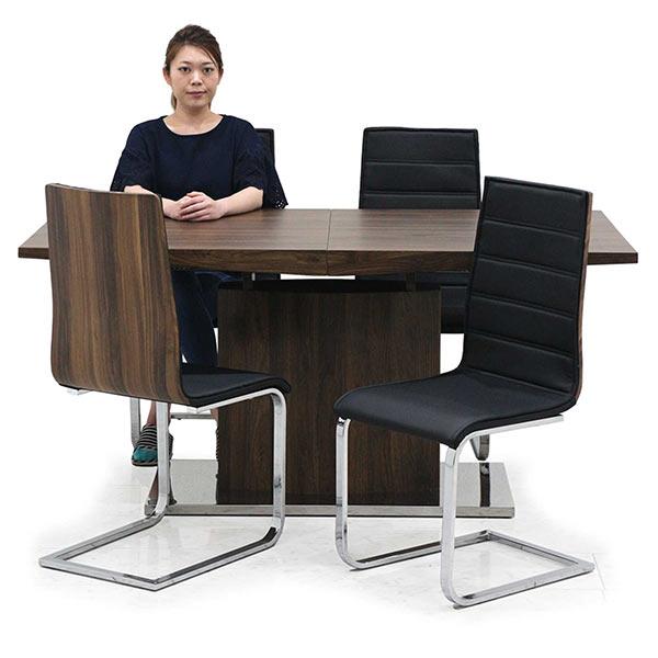 幅160cmから幅200cmへ伸長可能なダイニングテーブル5点セット
