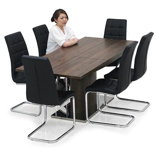 幅160cmから幅200cmへ伸長可能なダイニングテーブル7点セット