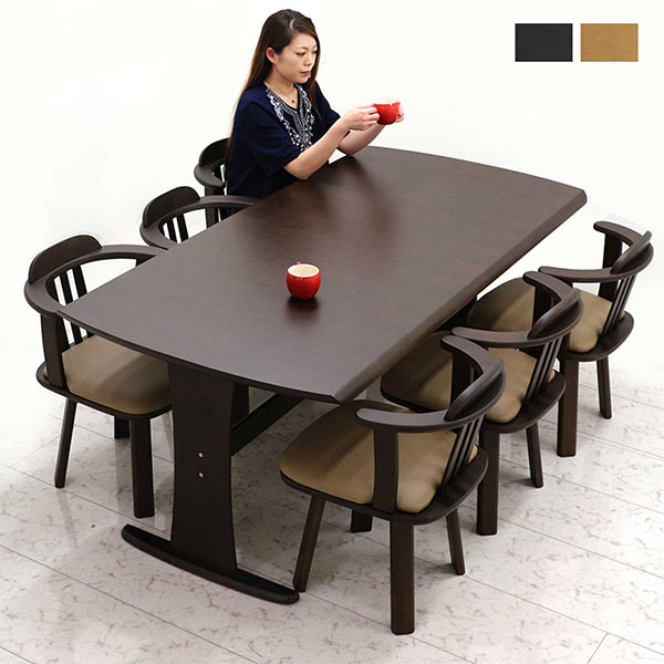 幅180cmダイニングテーブルと回転チェアーの7点セット