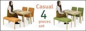 ダイニングセット ダイニングテーブルセット 4点 セット 4人掛け 幅120cm グリーン オレンジ 選べる2色 120×75