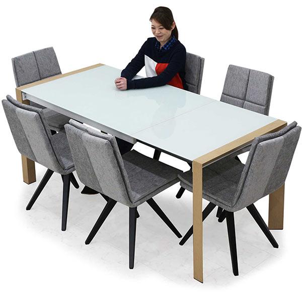 ガラステーブル ダイニングセット 伸長式 6人 7点 幅128~178cm