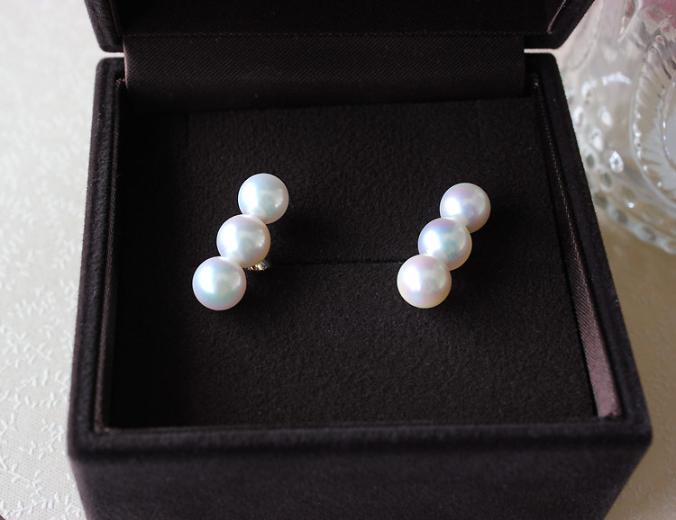 K18 akoya pearl earring 7-7.5mm K18YG/&K14WG
