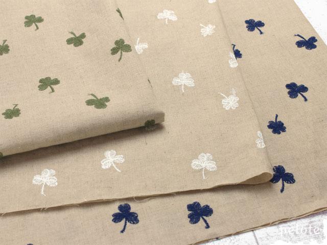 ハーフリネンシーチング クローバーレース刺繍 花柄 刺しゅう コットンリネン 洋服地
