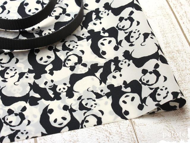 ナイロンオックス撥水加工 パンダ エコバッグ ショッピングバッグ パンダ柄 モノトーン 白黒