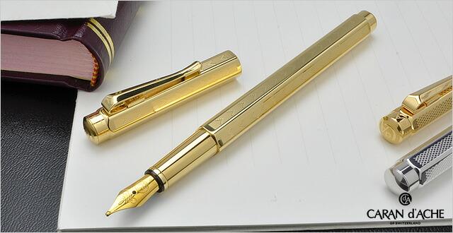 カランダッシュ 万年筆 エクリドール コレクション YN0958-208 シェブロン ゴールドプレート