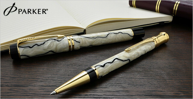 パーカー ボールペン デュオフォールド 102312 パール&ブラックGT