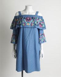 オフショルデニム刺繍ワンピース