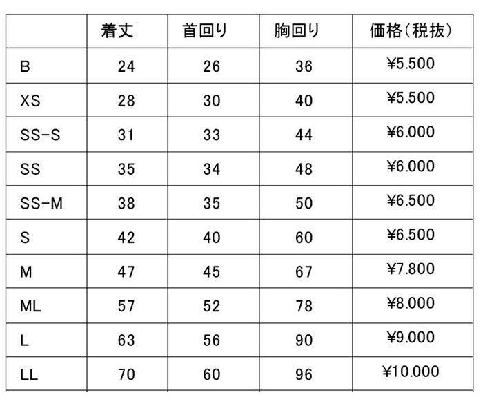 イージーレイン サイズ価格表