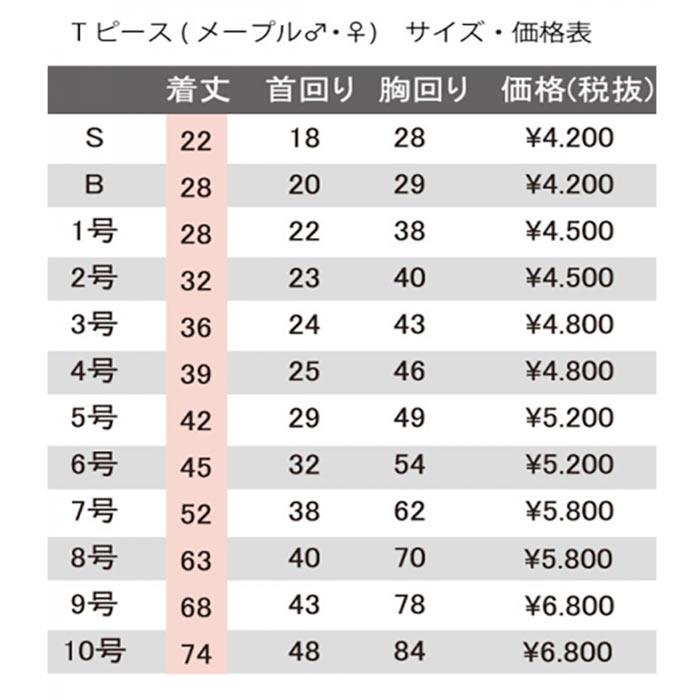 Tピース サイズ価格表