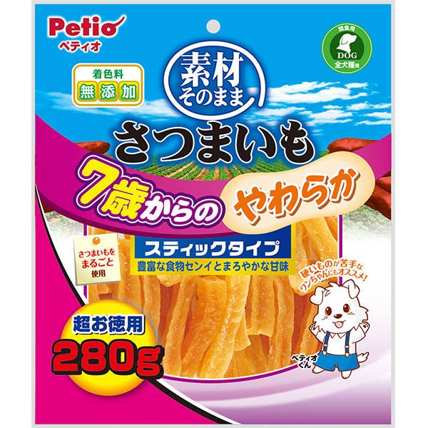ペティオ犬用おやつ素材そのままさつまいも7歳からのやわらかスティックタイプは自然な甘さが美味しい