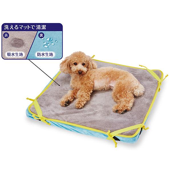 ペティオ寝返りが打ちやすい高反発ファイバーベッド洗える防水マット付ペット用小の使用例