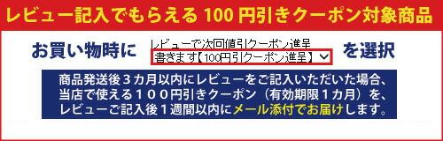 レビュー記入で100円引きクーポンをプレゼントします