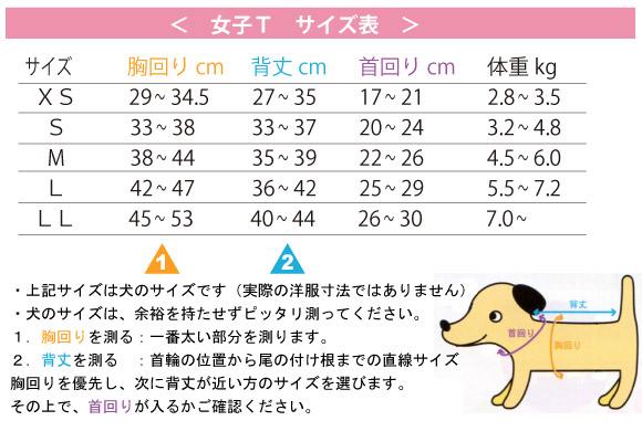 ダックスフント専用ウエアのサイズ表