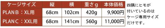 スカンジナビアンペットケージ用マットのサイズと価格