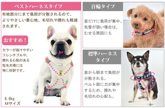 ベストハーネスはカラーが抜けやすいフレンチブルや擦れる心配のある短毛犬種には特に好評