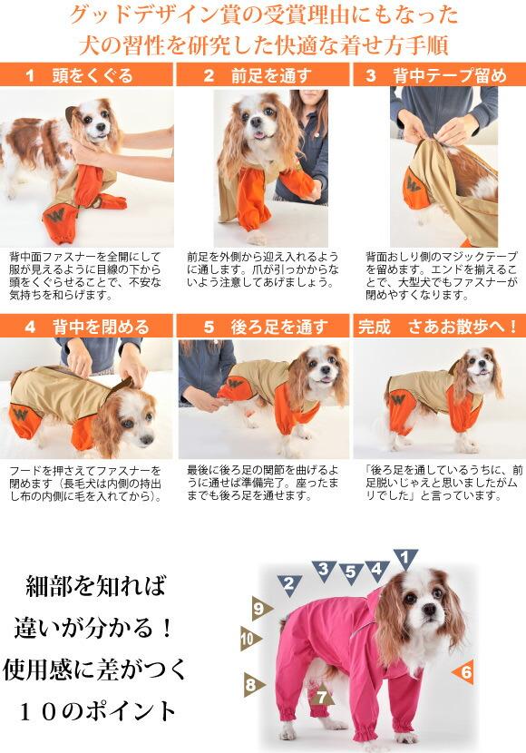 JコートWは着せやすく脱げにくい犬用レインコートです