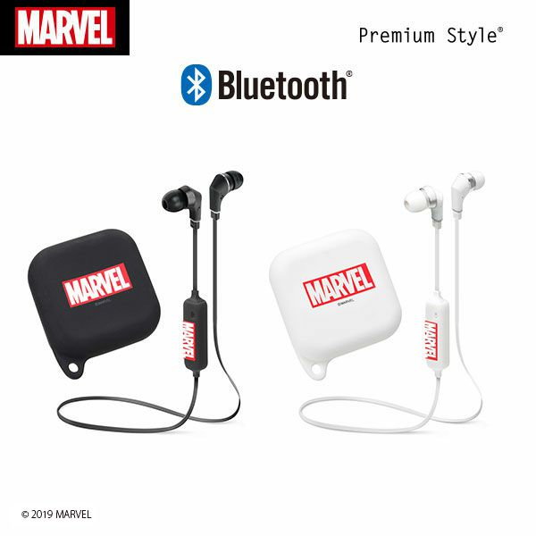 Bluetooth 4.1搭載 「MARVEL」ロゴ ワイヤレスステレオイヤホン シリコンポーチ付き