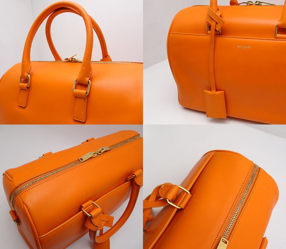 e1632e6800 Auth SAINT LAURENT PARIS YSL Classic Duffle 6 Boston Bag 322049 Orange   59874