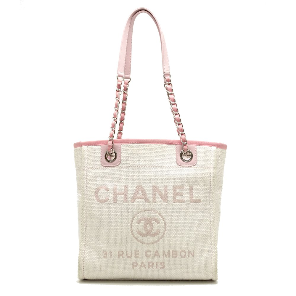 a57ea7aad38304 Authentic CHANEL Deauville PM Shoulder Tote Bag A66939 Pink /051578 FREE  SHIP