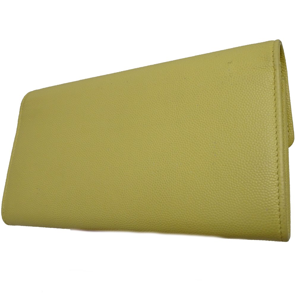 e55056a28c0eab Auth CHANEL Coco Mark Wallet A50070 Caviar Skin Pastel Yellow /043237 FREE  SHIP