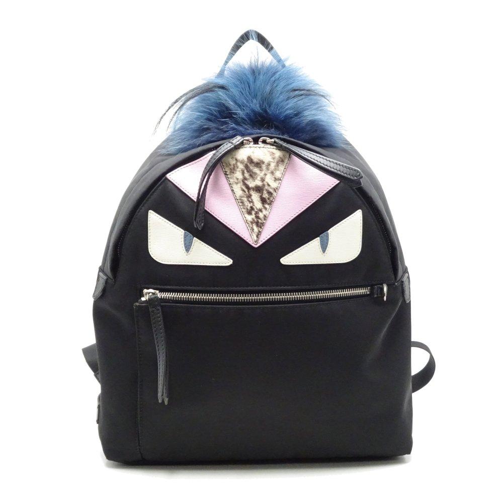 bc36ea7a8809 Authentic FENDI Bugs Monster Backpack 8BZ035 Nylon Black x Pink 052773 FREE  SHIP