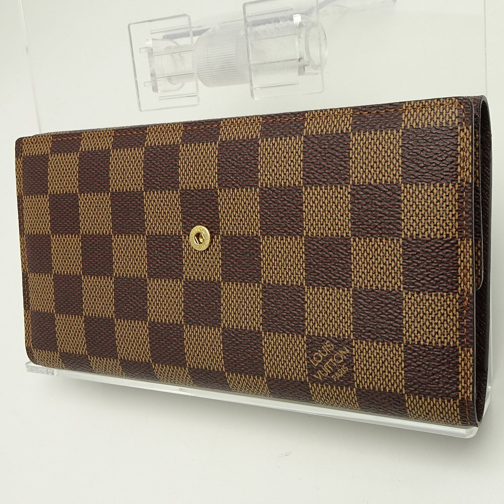 new concept 29fe3 4b81c Details about LOUIS VUITTON Damier Ebene Porte Tresor International Trifold  N61217 /044248