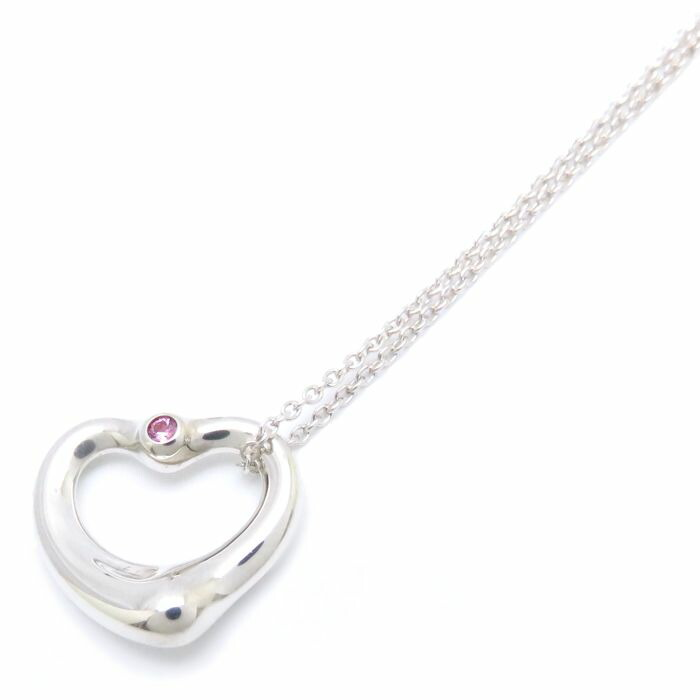 Auth Tiffany Co Silver 925 Pink Sapphire Open Heart Pendant Necklace 092031 Ebay