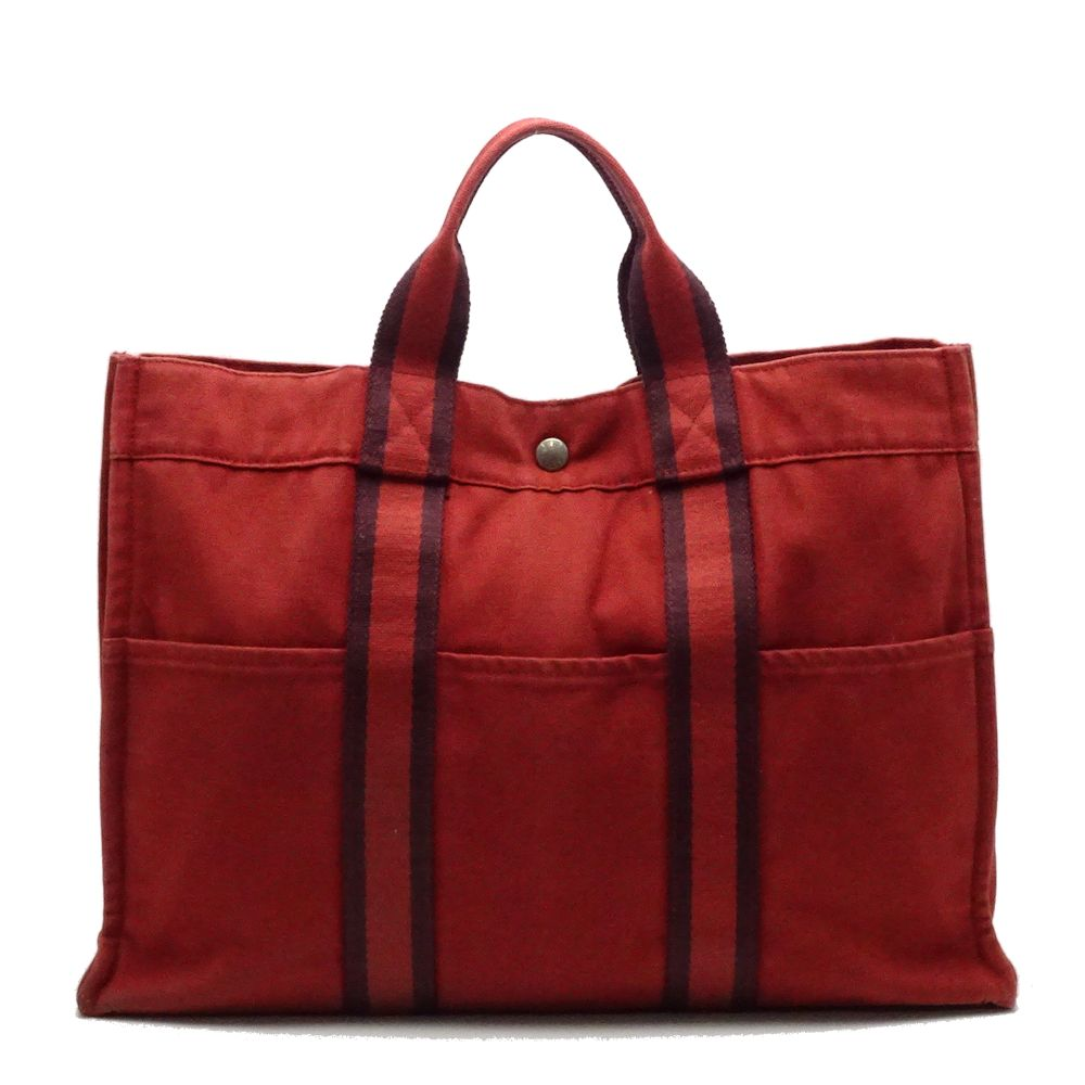 8f83ff491ca3 Details about Authentic HERMES Fourre Tout Tote Bag MM Canvas Red  052483  FREE SHIPPING