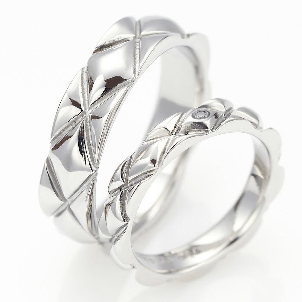 ペアリング シルバーリング ひし形格子 デザインリング サージカルステンレス 低アレルギー おそろい ダイヤモンド 送料無料
