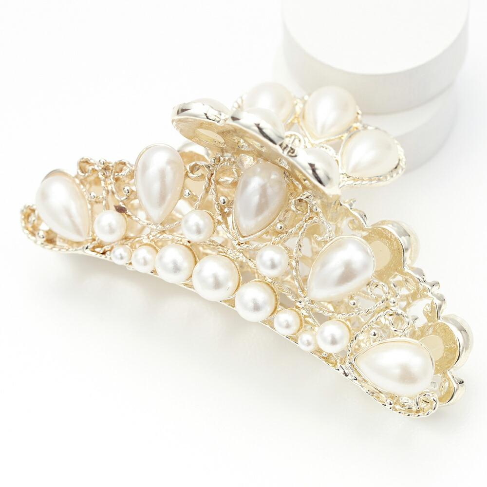 透かし模様ヘアバンスクリップ リボン ドロップ形 パール ゴールド 中くらい ゴージャス 結婚式 プレゼント用にも ギフト レディース