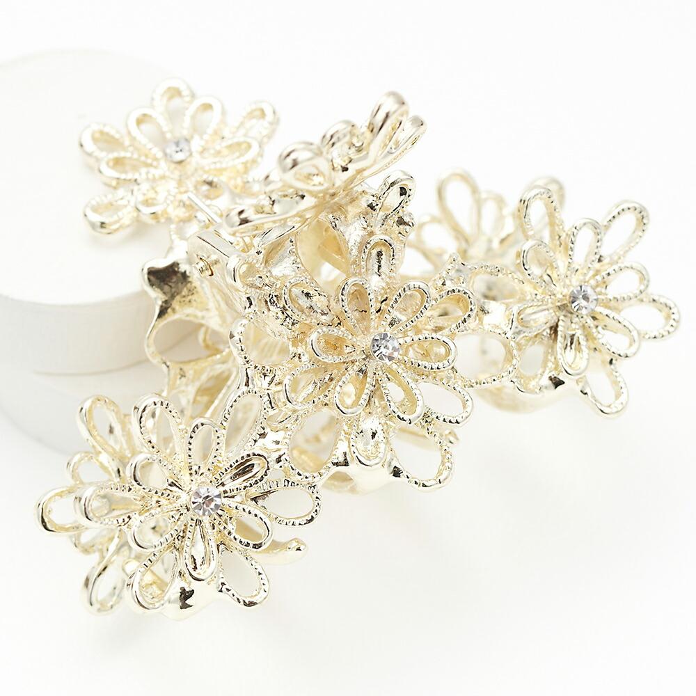 透かし柄ゴールドのお花ヘアクリップ レインリリー ミニバンス フラワー ストーン 和装 浴衣 可愛い レディース プレゼント用にも ギフト