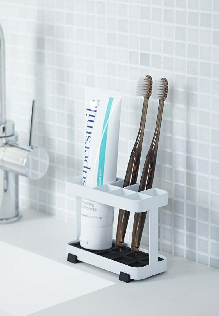 トゥースブラシスタンド タワー 歯ブラシスタンド 歯ブラシ立て 歯ブラシホルダー 歯磨き粉スタンド 歯ブラシ6本収納可 洗面所 洗面台 ホワイト ブラック メール便定型外郵便不可