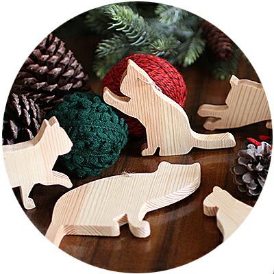 ねことシンプルでかわいいクリスマス用天然木手作りオーナメント