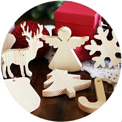 クリスマス用天然木手作りオーナメント
