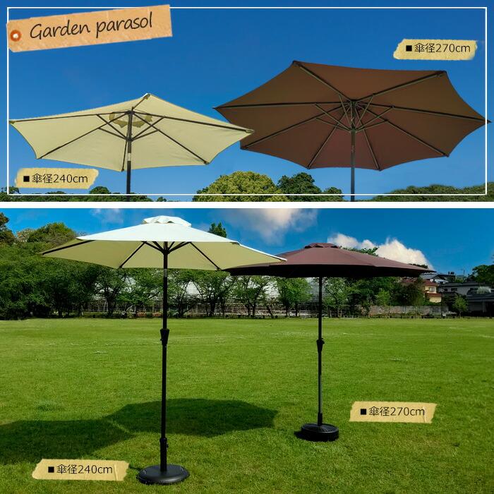 傘径248センチと傘径270センチのアルミパラソルの比較