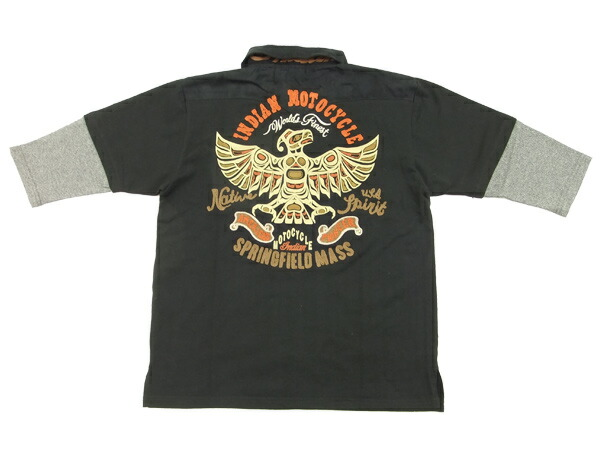 インディアンモトサイクル 6分袖 ポロシャツ フェイクレイヤード メンズ 六分袖 POLO imps-312