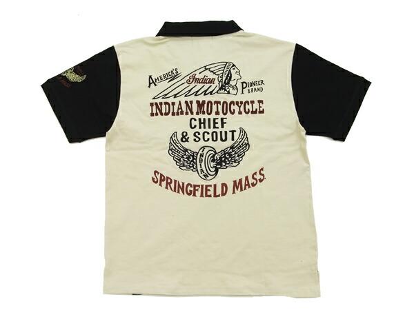 インディアンモトサイクル ジップポロシャツ メンズ 天竺半袖POLO IMPS-404