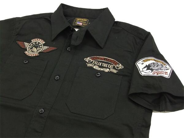 バンソン ワークシャツ FXV-505 FELIX THE CAT フィリックス・ザ・キャット vanson メンズ 半袖シャツ