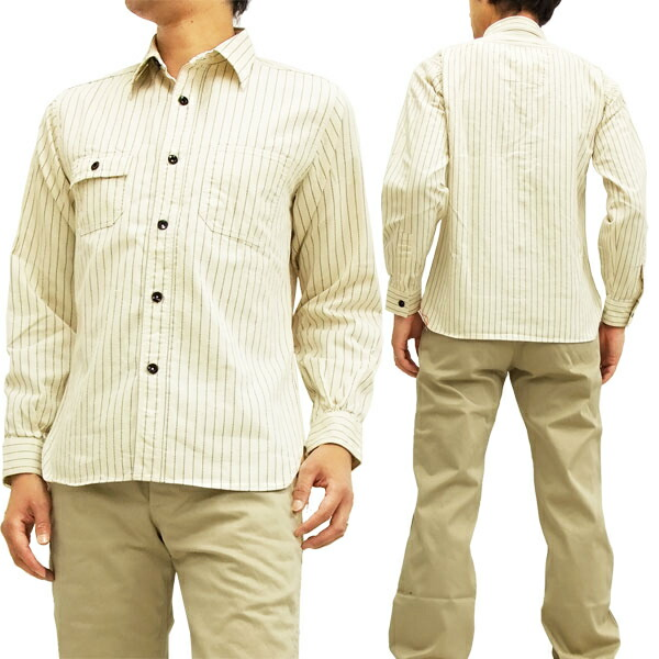 シュガーケーン ホワイトウォバッシュストライプ ワークシャツ SC27076 Sugar Cane 東洋エンタープライズ メンズ 長袖シャツ