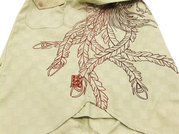 絡繰魂 鳳凰刺繍ジャガードシャツ 253876 和柄 メンズ 長袖シャツ