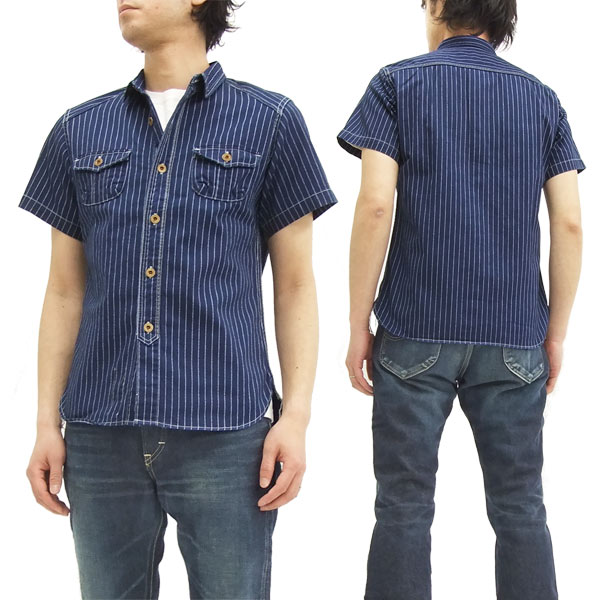 ステュディオ・ダルチザン ウォバッシュストライプ ワークシャツ 5532 メンズ 半袖シャツ
