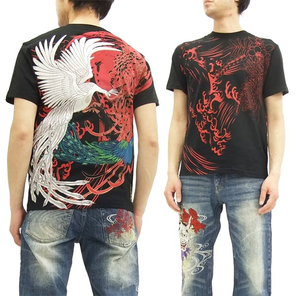 絡繰魂 粋 Tシャツ 272522 孔雀 刺繍 和柄 メンズ 半袖tee