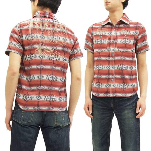 インディアンモトサイクル ワークシャツ imss-702 ネイティブ柄 メンズ 半袖シャツ