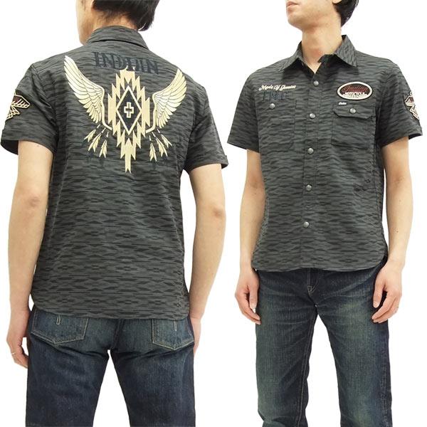 インディアンモトサイクル ワークシャツ imss-704 ネイティブ柄 メンズ 半袖シャツ